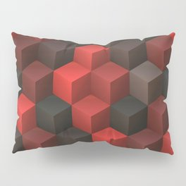 Artistic Cubes 07 red black Pillow Sham