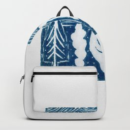 linocut trees print Backpack