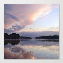Uplifting: Geese Rise at Dawn on Lake George Canvas Print