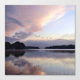 Uplifting: Geese Rise at Dawn on Lake George Canvas Print