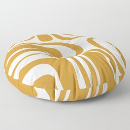 Palm Springs Midcentury Modern Abstract Pattern in Mustard Gold and White Floor Pillow