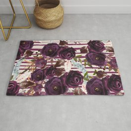 Watercolor ivory purple burgundy brown floral stripes Rug