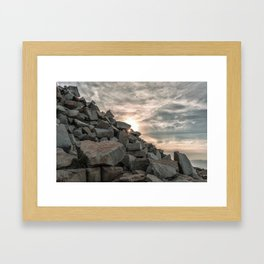 Rocks sky and sea Framed Art Print