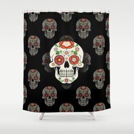 Lancashire Rose Sugar Skull (Black pattern) Shower Curtain