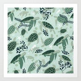 Endangered turtles Art Print