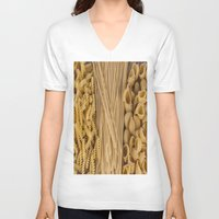 pasta V-neck T-shirts featuring Different kind of pasta by Joseagon