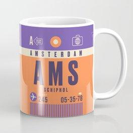 Retro Airline Luggage Tag - AMS Amsterdam Schiphol Coffee Mug