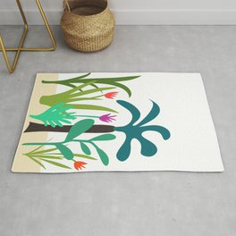 Lush Tropical Garden // Hand-drawn Modern Organic Illustration Rug
