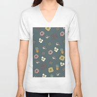 70s V-neck T-shirts featuring 70S Cafe by Calepotts
