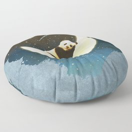 Sleeping Panda on the Moon Floor Pillow