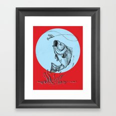 Bass Jumping In Blue Circle2 Framed Art Print