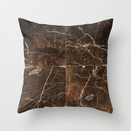 Brown Granite Squares Throw Pillow