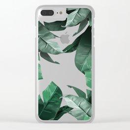Banana Leaf Print Clear iPhone Case