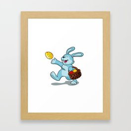 rabbit with Easter basket Framed Art Print