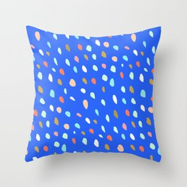 Blue Party Paint Dots Throw Pillow