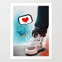 sneaker Art Prints featuring sneaker Love by Dominik Gottherr