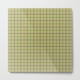 Fern Green & Sludge Grey Tattersall on Wheat Beige Background Metal Print