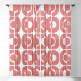 Retro Mid Century Modern Pattern 351 Red Sheer Curtain