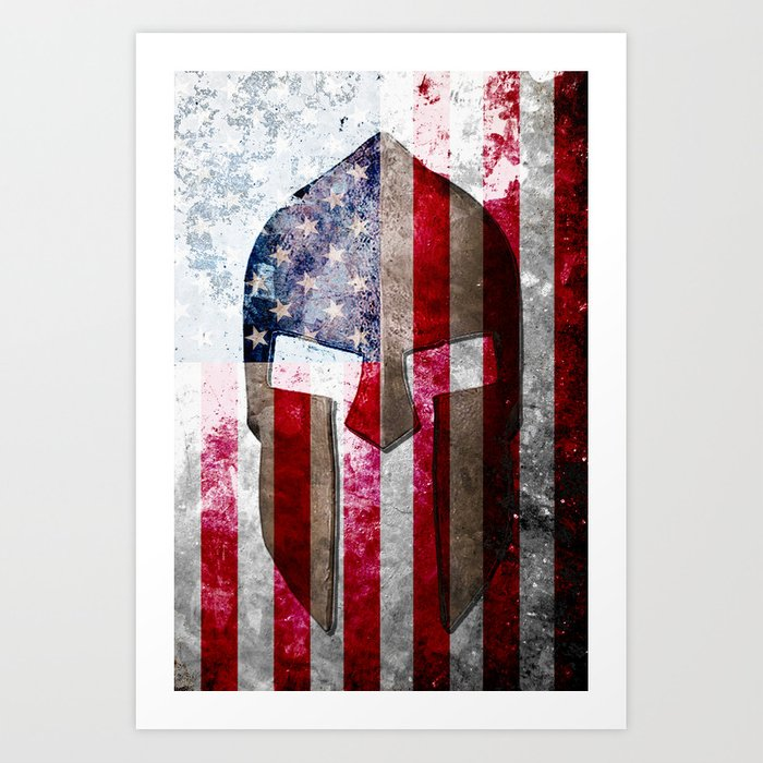 Molon Labe - Spartan Helmet Across An American Flag On Distressed Metal Sheet Art Print