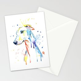 Greyhound Colorful Watercolor Pet Portrait Painting Stationery Cards