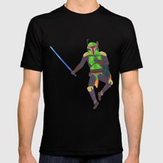 Boba Fett with a Lightsaber Collage Mens Fitted Tee MEDIUM Black