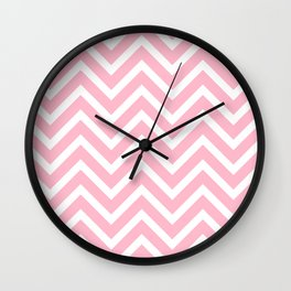Chevron Stripes : Pink & White Wall Clock