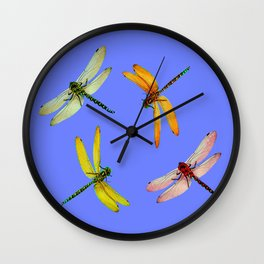 COLORFUL DRAGONFLIES IN BLUE SKY  DESIGN Wall Clock