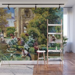 The Gardens of the Royal Alcazar, Seville, Spain by Manuel Garcia y Rodriguez Wall Mural