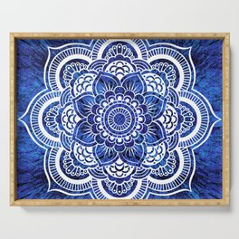 Mandala Blue Colorburst Serving Tray