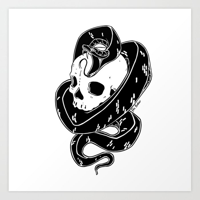 Snake and Skull Tattoo Flash Art Print by fezbaker | Society6