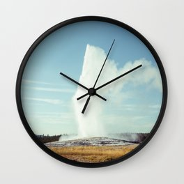 """Old Faithful Eruption"" Geyser at Yellowstone National Park - Photograph Wall Clock"