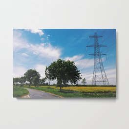 country lane, trees and electricity pylon. Metal Print