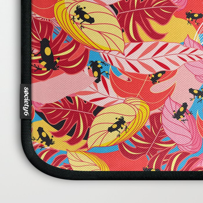 Beautiful illustration of a jungle with the frogs Laptop Sleeve