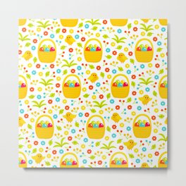 Easter Egg Basket With Little Chicks Pattern Metal Print