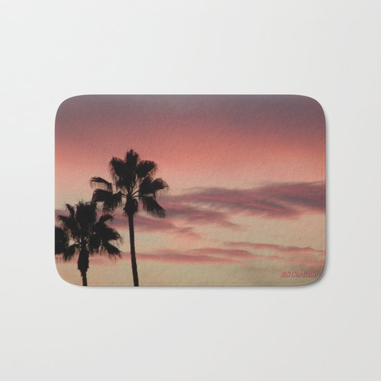 Atmospherics Number 3: Two Palms in the Sunset Bath Mat