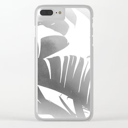 Black and White Tropical Banana Leaves In The Fog Design Clear iPhone Case