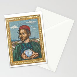Portrait of a Rapper with the Album of the Year Stationery Cards