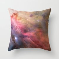nasa Throw Pillows featuring Nebula star Orion galaxy hipster NASA space and stars photo by iGallery