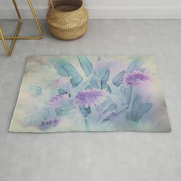 Heavenly Lavender Water Color Floral Rug