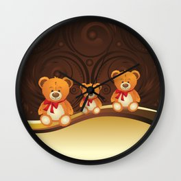 Teddy bear with red bow Wall Clock