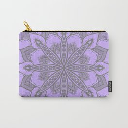 Purple Gray Flower Mandala Carry-All Pouch