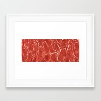 meat Framed Art Prints featuring Meat! by Tiffany Chan Illustration