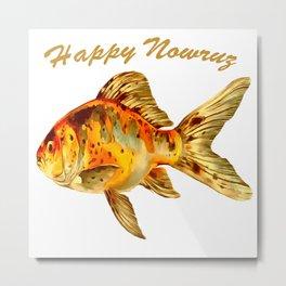 Elegant Happy Nowruz Goldfish Persian New Year Metal Print