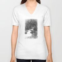 yosemite V-neck T-shirts featuring Whiteout Yosemite-2 by Deepti Munshaw