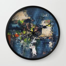 Peacock Blue Abstract Painting Vibrant Modern Art Wall Clock