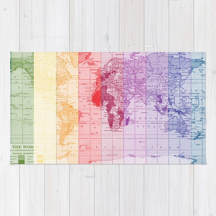 World Map Throw Rug: Rainbow World Map Rug By Catherineholcombe