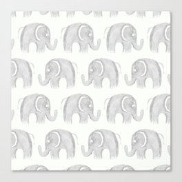 Modern gray white watercolor pastel cute elephant Canvas Print