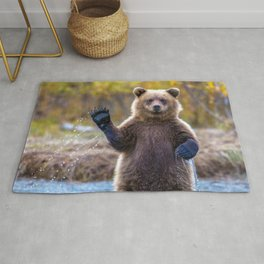 Funny Gorgeous Brown Bear Fishing Looks Like He Is Waving At Us Ultra HD Rug