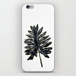 Philodendron Monstera Leaf black and gold iPhone Skin