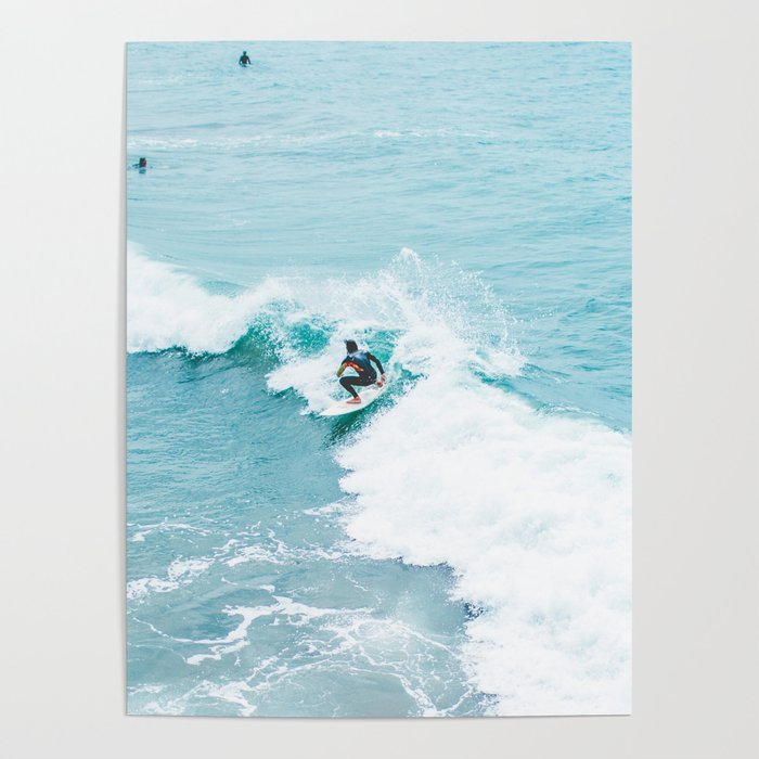 Wave Surfer Turquoise Poster